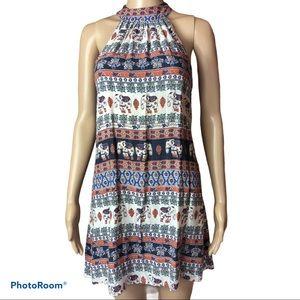 BAND OF GYPSIES halter tribal print swing dress